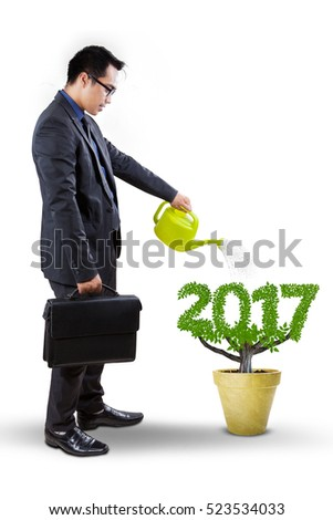 Young manager pouring water into the tree in a pot with leaves shaped numbers 2017 in the studio