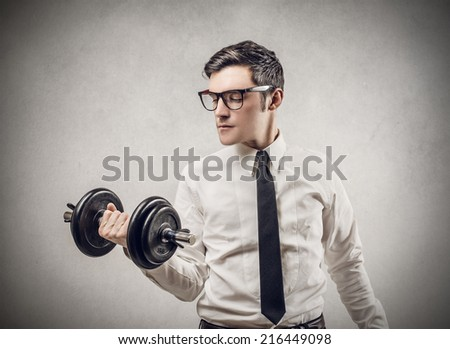 Young manager training hard  - stock photo