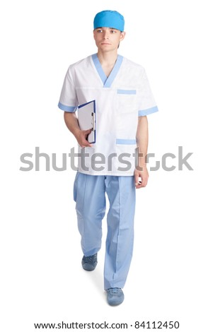 young medical doctor in movement with a hand clipboard isolated on white background
