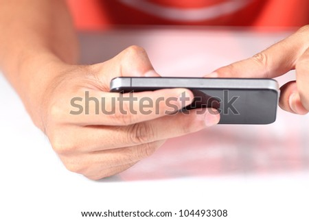 Young men are using smart phone - stock photo