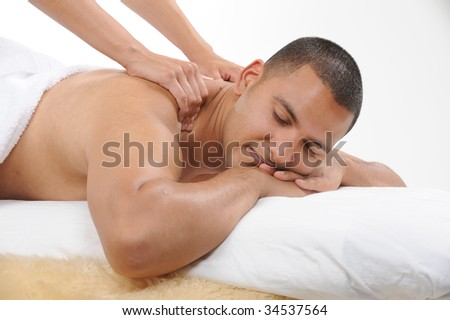 young men getting back massage