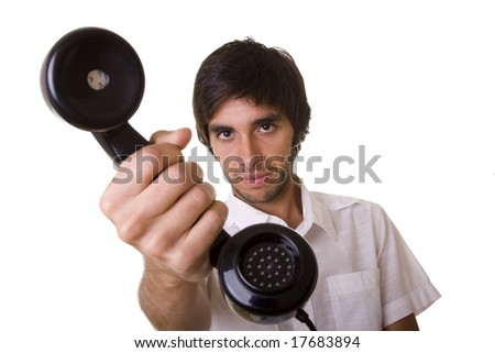 young men giving you the telephone receiver (selective focus) - stock photo