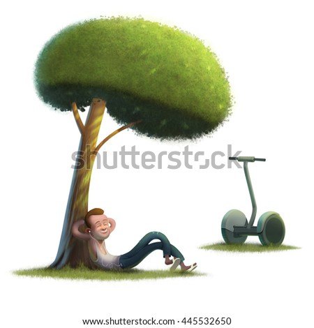 Young men hipster on sunny green lawn illustration white background - stock photo