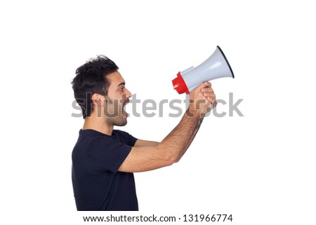 Young men in black with a Megaphone proclaiming something isolated on white background