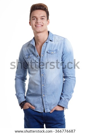 Young men model posing in the studio