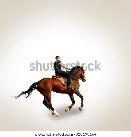 Young men on the brown horse - stock photo