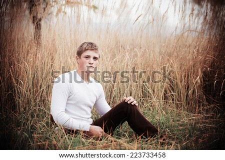 young men outdoor - stock photo