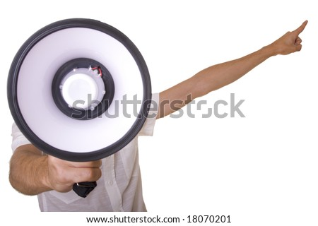 young men shouting at the megaphone (selective focus)