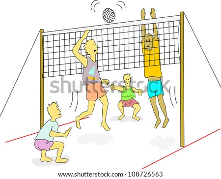 Young men wearing light weight clothes play beach volleyball outdoors.