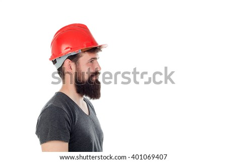 Young men with hipster look and red helmet isolated on white background