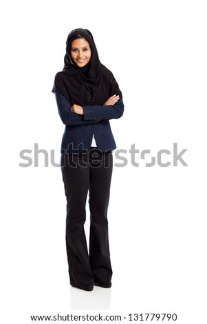 young middle eastern businesswoman full length isolated on white - stock photo
