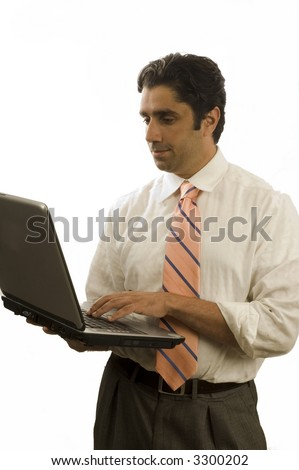 Young middle-eastern executive with computer on white background - stock photo