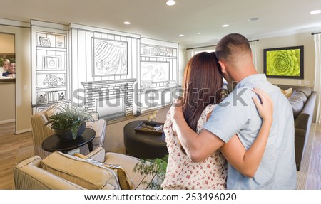 Young Military Couple Inside Custom Room and Design Drawing Combination. - stock photo
