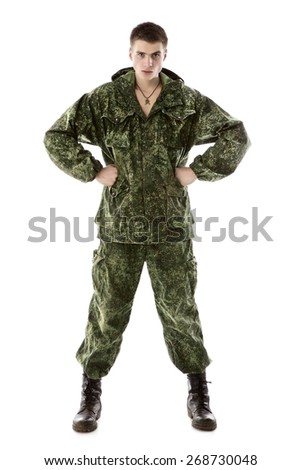 young military man, isolated on white background - stock photo