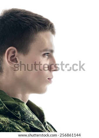 young military man profile, closeup portrait isolated on white  - stock photo
