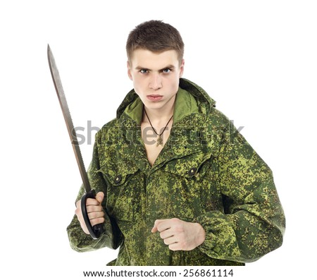 young military man with machete, isolated on white - stock photo