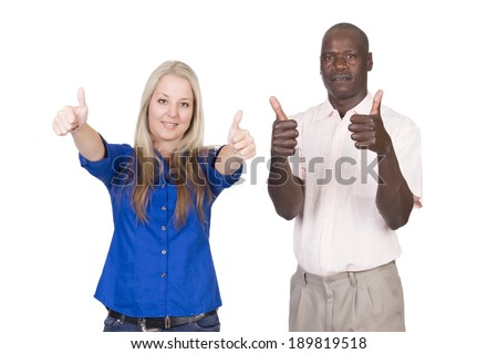 young mixed couple black man and blond caucasian woman in studio on a white background holding thumbs up towards the camera  - stock photo