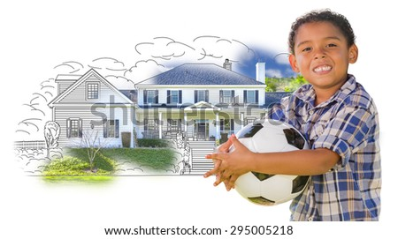 Young Mixed Race Boy Holding Soccer Ball Over House Drawing and Photo Combination on White. - stock photo