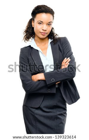 Young mixed race businesswoman with arms folded isolated white background - stock photo