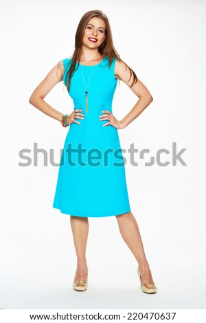 young model fashion look in blue dress . white background .