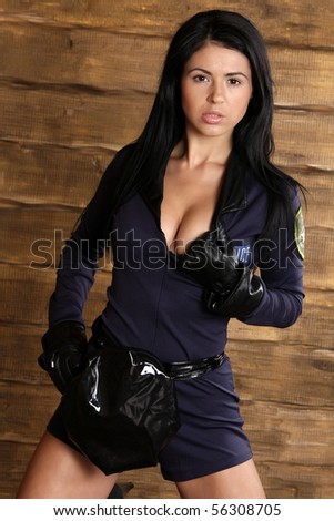 young model in police uniform - stock photo