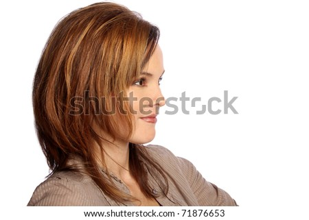 Young model looking to the side - stock photo