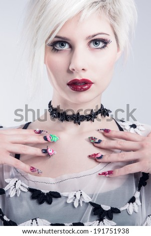 Young model with nail design