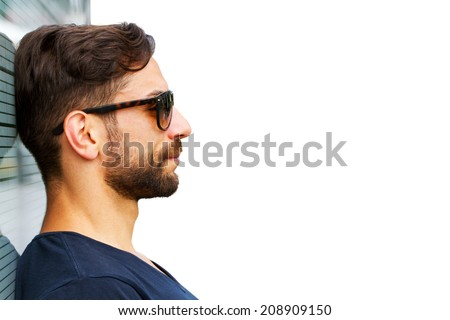 Young, modern man have a vision - stock photo