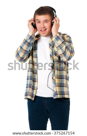Young modern man with headphones isolated on white background - stock photo