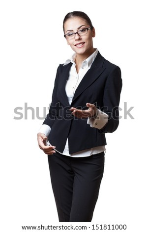 young modern professional businesswoman isolated on white - stock photo