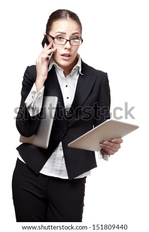 young modern professional businesswoman totally busy