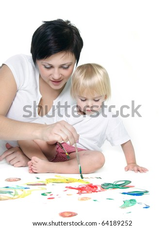 young mother and child painting over white