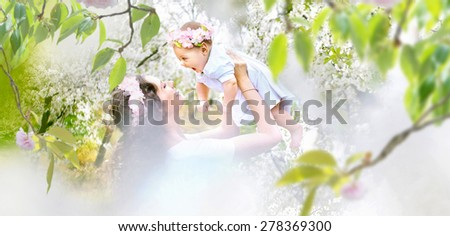 Young mother and her little baby relaxing in a spring orchard - stock photo