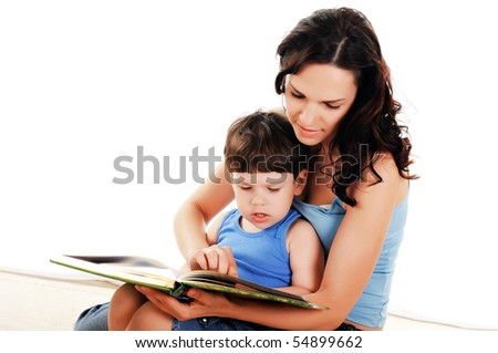 young mother and her son spend time together - stock photo
