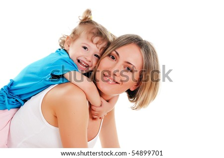 young mother and her young daughter spent time together - stock photo