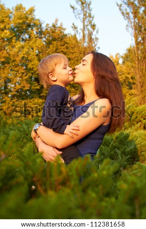 young mother and son - stock photo