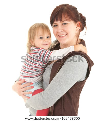 young mother cuddling baby son, white background - stock photo