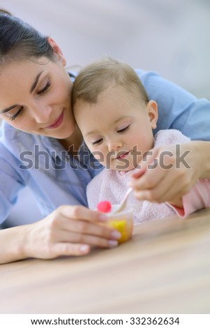 Young mother helping baby girl with eating by herself - stock photo