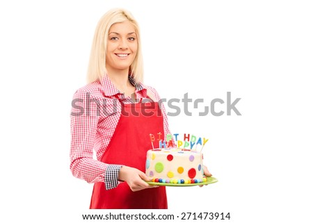Young mother holding birthday cake isolated on white background - stock photo