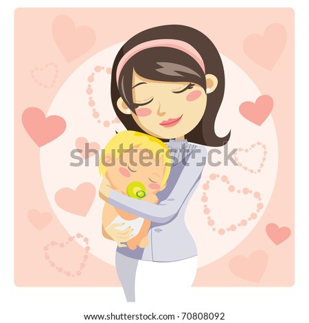 Young mother hugging her baby with care and love while he sleeps - stock photo