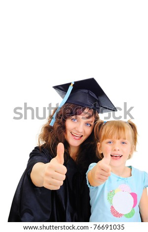 Young mother is graduating with a child - stock photo