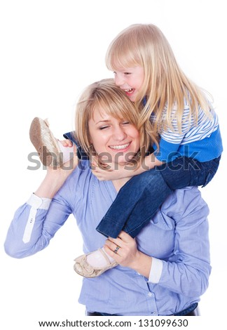 Young mother playing with daughter. On white background