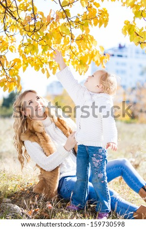 Young mother playing with her daughter in autumn park - stock photo