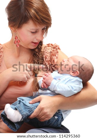 Young mother with her baby. - stock photo
