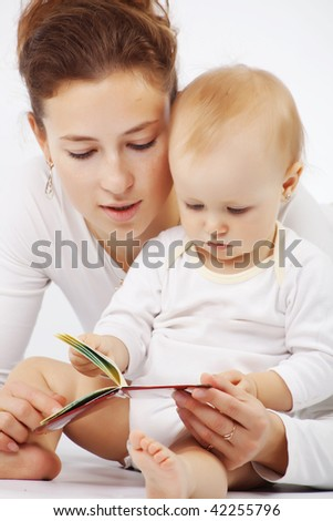 Young mother with her baby over white - stock photo