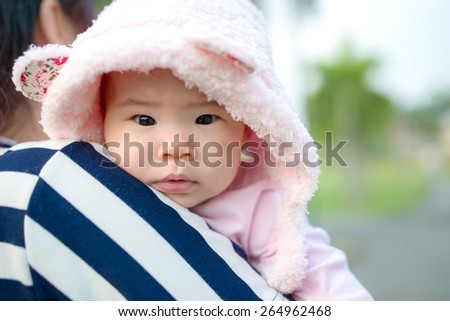 Young mother with her child in morning - stock photo
