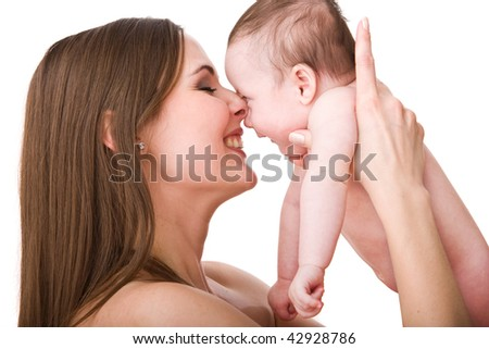 Young mother with her cute little baby girl isolated on white background