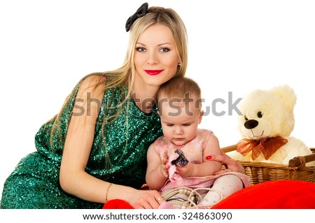 Young mother with her daughter isolated - stock photo