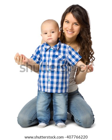Young mother with her son isolated - stock photo