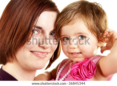 Young mother with her year old baby girl